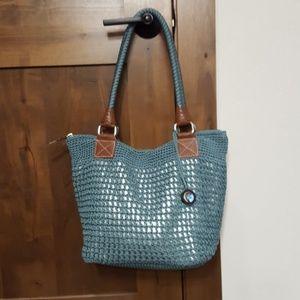 The Sac blue crocheted handbag